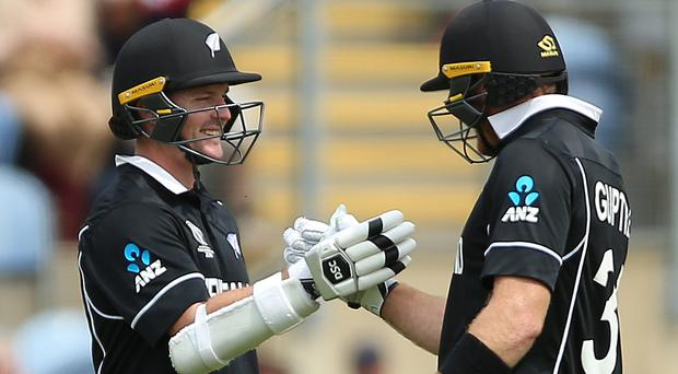 Colin Munro, left, and Martin Guptill finished unbeaten to give New Zealand a 10-wicket win over Sri Lanka. (Nigel French/PA)