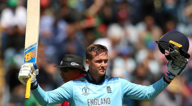 Jason Roy celebrates his century against Bangladesh (Nigel French/PA)