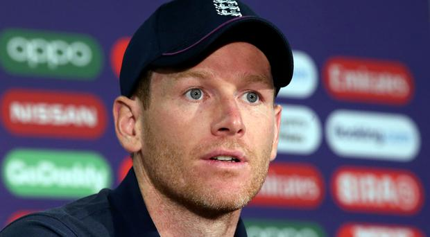 Eoin Morgan stood for his press conference (Mark Kerton/PA)