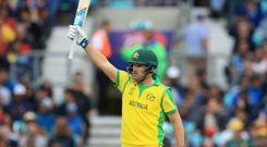 Australia's Aaron Finch celebrates during his 153 stand (Adam Davy/PA)