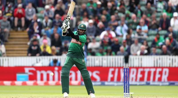 Bangladesh's Shakib Al Hasan scored an unbeaten 124 in their seven-wicket win against the West Indies (David Davies/PA)