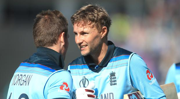 Joe Root (right) was thrilled by Eoin Morgan's six-hitting display (Adam Davy/PA)