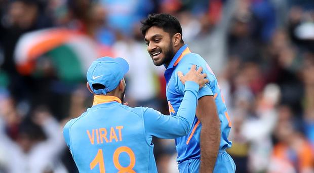 Vijay Shankar, right, is hoping to be fit for India's World Cup clash with Afghanistan. (Martin Rickett/PA)