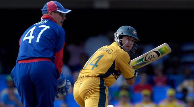 Australia captain Ricky Ponting, right, hits a four against England in the 2007 World Cup (Rebecca Naden/PA)