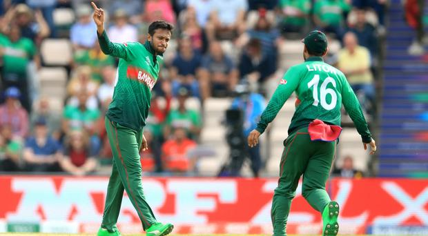 Shakib Al Hasan, left, had a day to remember for Bangladesh (Adam Davy/PA)