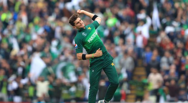 Pakistan's Shaheen Afridi celebrates taking the wicket of New Zealand's Tom Latham during the World Cup at Edgbaston (Simon Cooper/PA)
