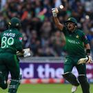 Pakistan's Babar Azam celebrates his match-winning World Cup century against New Zealand at Edgbaston (Simon Cooper/PA)
