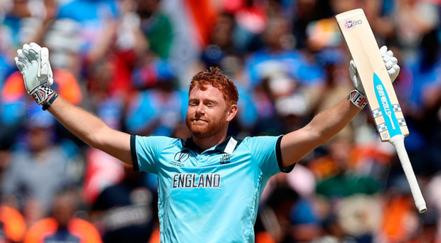 Ton-up: Jonny Bairstow enjoys the plaudits after reaching his century for England yesterday