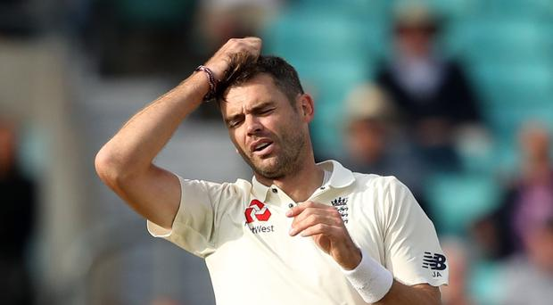 James Anderson was injured in action for Lancashire (Adam Davy/PA)