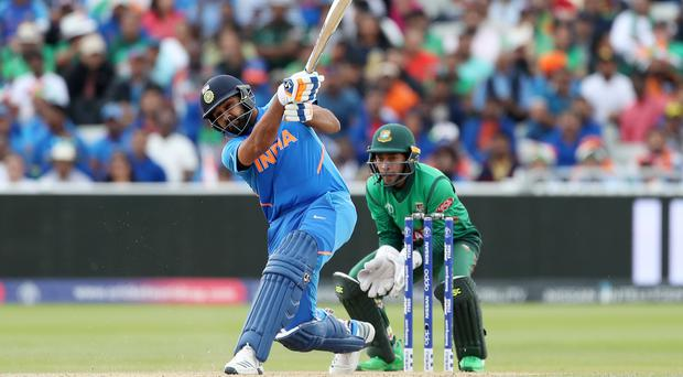 India's Rohit Sharma made his fourth hundred of the 2019 World Cup against Bangladesh at Edgbaston (David Davies/PA)