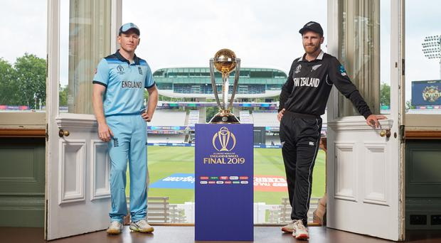 Eoin Morgan's England will play Kane Williamson's New Zealand in Sunday's World Cup final (ICC/PA)