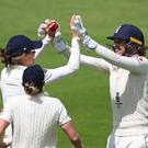 England's Amy Jones celebrates the wicket of Beth Mooney as Australia regained the Women's Ashes at Taunton (Mark Kerton/PA)