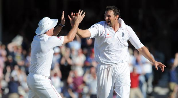 Steve Harmison, right, in action for England during the 2009 Ashes series (Anthony Devlin/PA)