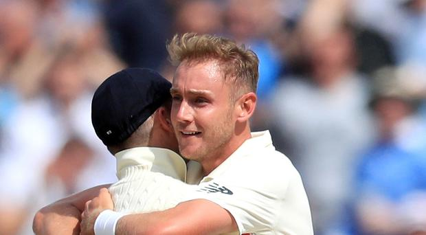 Stuart Broad finished with five wickets on the opening day at Edgbaston (Mike Egerton/PA)