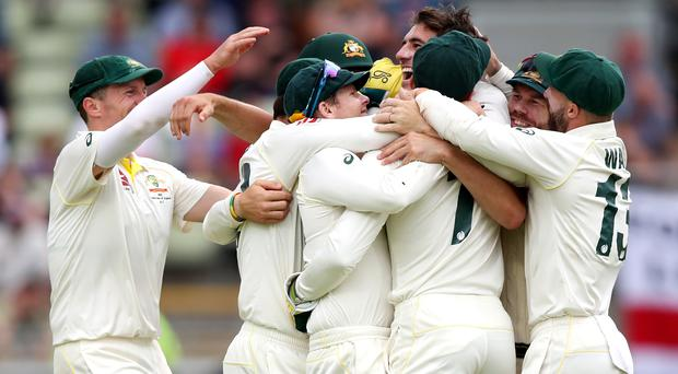 Australia players celebrate after defeating England by 251 runs (Nick Potts)