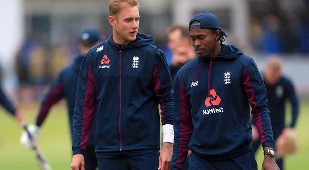 Jofra Archer, right, is set to share the new ball with Stuart Broad after receiving his Test cap (Mike Egerton/PA)