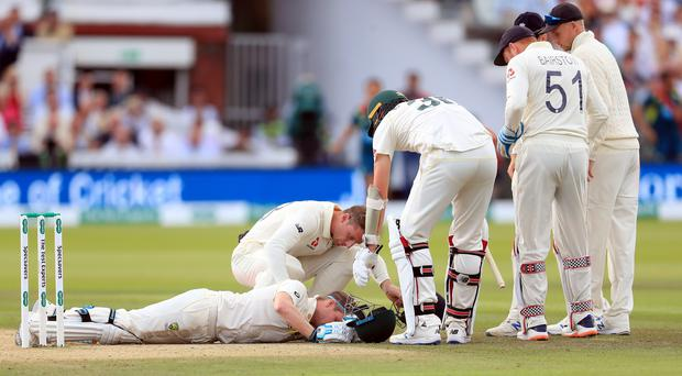 Steve Smith retired hurt after being hit on the head by a bouncer (John Walton/PA)