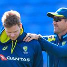 Australia coach Justin Langer, right, with batsman Steve Smith (Mike Egerton/PA)