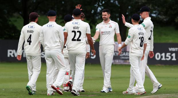 James Anderson (third right) missed last week's second Test due to a calf injury (Peter Byrne/PA)