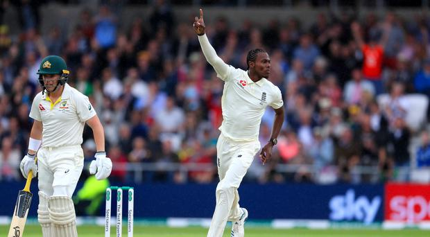 Jofra Archer celebrates taking the wicket of Australia's Marcus Harris in the third Test (Mike Egerton/PA)