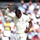 Jofra Archer (pictured) dismissed tailenders James Pattinson and Nathan Lyon to take his match tally to eight for 85 (Tim Goode/PA)