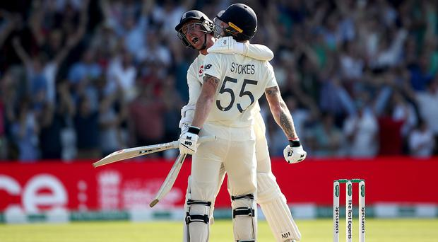 Ben Stokes, right, celebrates victory with Jack Leach (Tim Goode/PA)