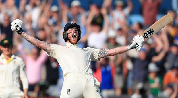 Ben Stokes celebrates leading England to a remarkable win (Mike Egerton/PA).
