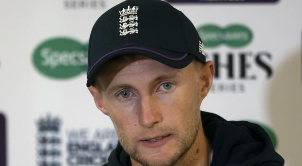 England's Joe Root speaks during a press conference before the 4th Ashes Test cricket match between England and Australia at Old Trafford cricket ground in Manchester, England, Tuesday, Sept. 3, 2019. (AP Photo/Jon Super)