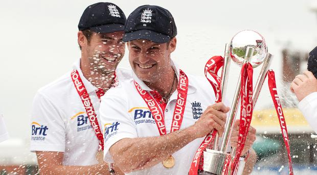 James Anderson (left) has paid tribute to Andrew Strauss after he was awarded a knighthood (Gareth Copley/PA).