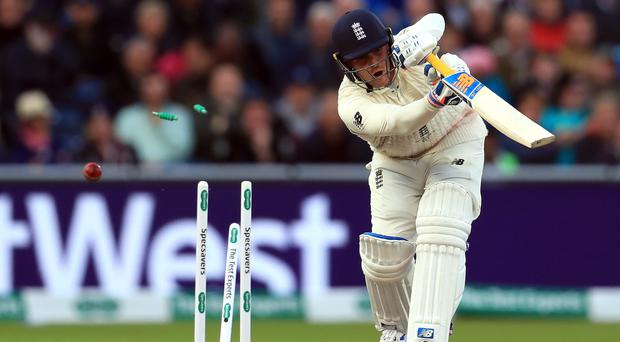 Jason Roy, clean bowled by Josh Hazlewood on day three of the fourth Ashes Test, was no match for Australia's attack (Mike Egerton/PA)