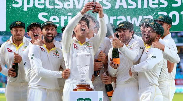 Australia take the Ashes urn home (Mike Egerton/PA)