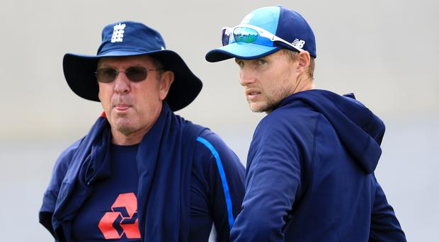 Trevor Bayliss, left, and his Test captain Joe Root failed to produce consistent results (Mike Egerton/PA)