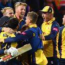 Essex celebrated a thrilling four-wicket victory (Anthony Devlin/PA)