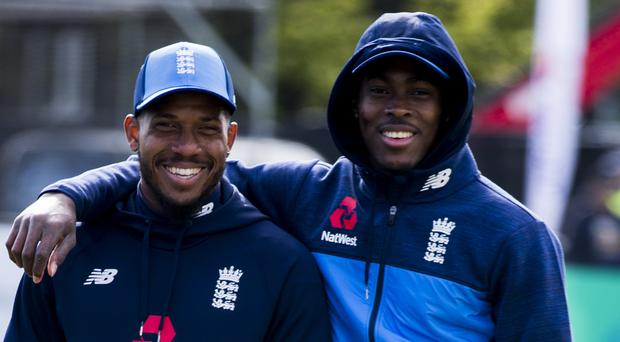 Chris Jordan, left, lived vicariously through his great friend Jofra Archer during England's World Cup triumph (Liam McBurney/PA)
