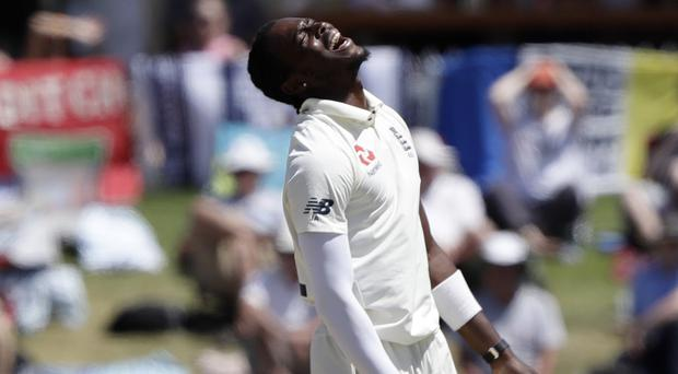 Jofra Archer has been wicketless so far in his first overseas Test match for England (Mark Baker/AP)