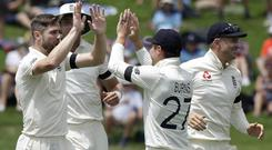 Chris Woakes took England's second wicket (Mark Baker/AP)