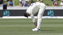 Ben Stokes was introduced into the England attack, despite concerns over his left knee (Mark Baker/AP).