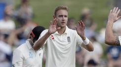England's Stuart Broad sparked a New Zealand collapse in Hamilton (AP)