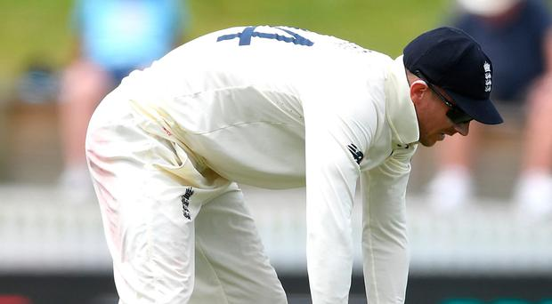 Oh no: Joe Denly reacts to his dropped catch in England's Hamilton draw
