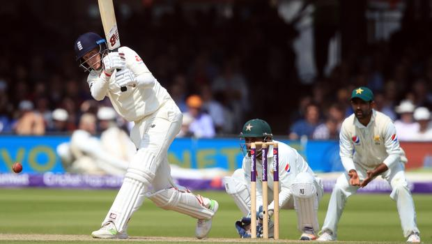 Joe Root in action during the third day of the first Test against Pakistan