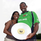 Silver lining: Phil Simmons with wife Jace after winning the ICC World Cricket League Division One with Ireland