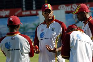 Courtney Walsh (centre) was the first man to reach 500 wickets in Test cricket (Rebecca Naden/PA)