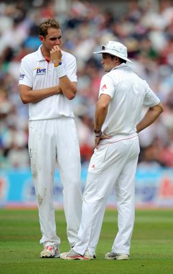 Stuart Broad sharing the field with Sir Andrew Strauss (Anthony Devlin/PA)