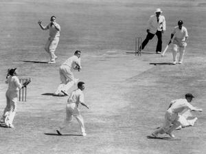 Peter May batting against Australia (PA archive)