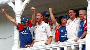 England's Andrew Flintoff and Kevin Pietersen celebrate as they beat Australia during the fourth day of the fourth npower Test match at Trent Bridge, Nottingham, Sunday August 28, 2005. England beat Australia by three wickets to win fourth Ashes Test at Trent Bridge and go 2-1 up in the series.