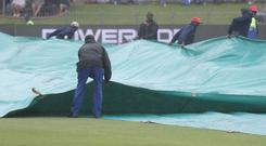 Rain delayed the start of the fourth Test (AP Photo/Michael Sheehan)