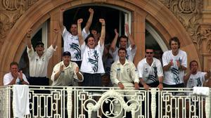 The New Zealand team celebrate their win at Lord's for the first time, on the fourth day of the second Test at Lord's (Rebecca Naden/PA)