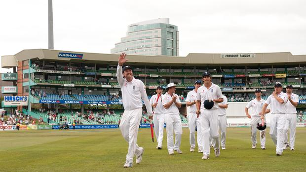 England celebrate an innings win in Durban in 2009 (Gareth Copley/PA)
