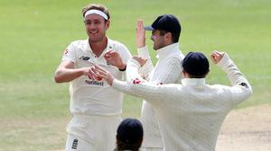 Stuart Broad, left, took his 500th Test wicket for England against the West Indies (Martin Rickett/PA)
