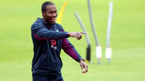 England's Jofra Archer warms up ahead of day one of the Third Test at Emirates Old Trafford, Manchester.